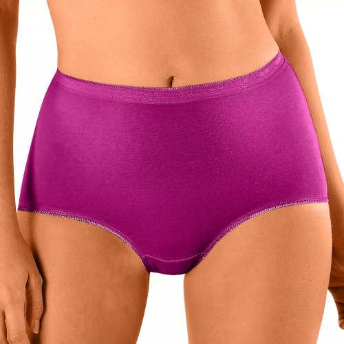 Pohodlné fialové dámske bavlnené nohavičky pre staršie