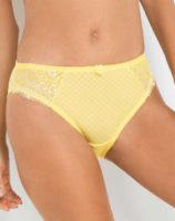 Žlté dámske nohavičky s kvetinovou čipkou